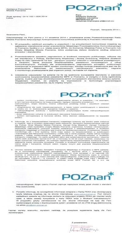 List odpowiedź wiceprezydenta Poznania