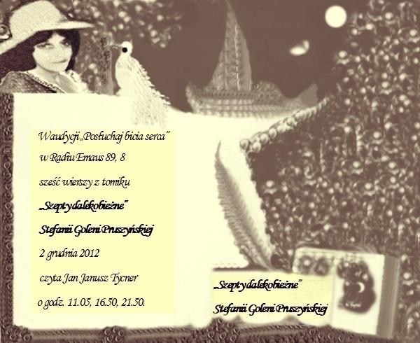 Zapowiedź czyt. moich 6 wierszy z Szeptów dalekobieżnych z 2 grudnia 2012
