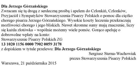 Apel o pomoc dla A. Gorzańskiego, ZG SPP