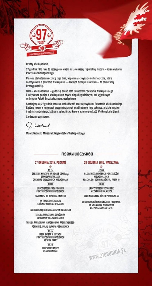 Plakat obchodów rocznicy Powstania Wielkopolskiego 27 gr. 2015, r.500