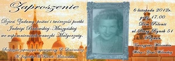 Jadwiga Badowska-Muszyńska, zaproszenie