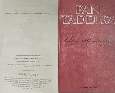 1. A2.2. Okładka i strona winietowa Pan Tadeusz, fot. redGAI, SP