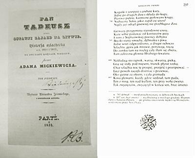 3. A3.1. Podobizna karty tytułowej pierwszego wydania Pana Tadeusza, fot. redGAI, SP, DSCF0230